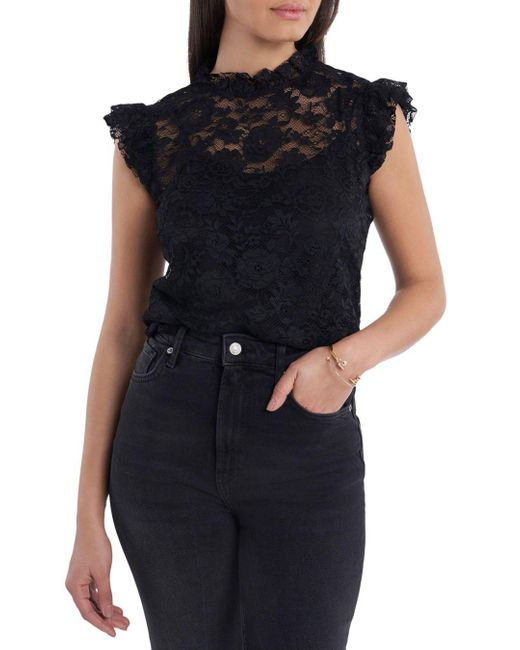 1.STATE Black 1. State Lace Flutter Sleeve Blouse