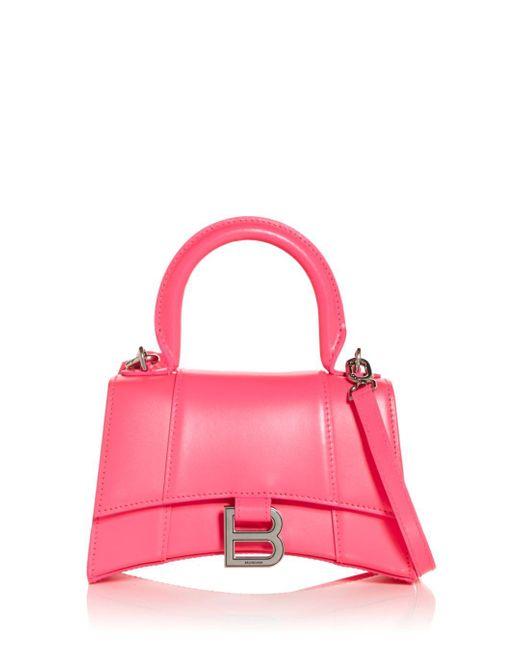 Balenciaga Pink Hourglass Xs Leather Top Handle Bag
