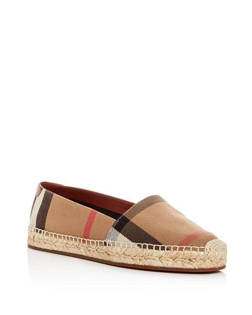 Burberry - Brown Women's Hodgeson House Check Espadrille Flats - Lyst