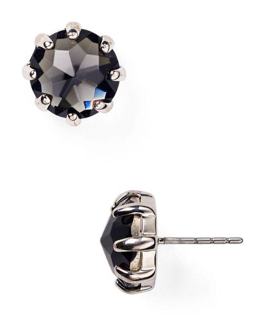 Rebecca Minkoff - Black Rhinestone Stud Earrings - Lyst