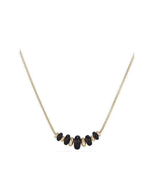 David Yurman - Metallic Rio Rondelle Short Station Necklace With Black Agate In 18k Gold - Lyst