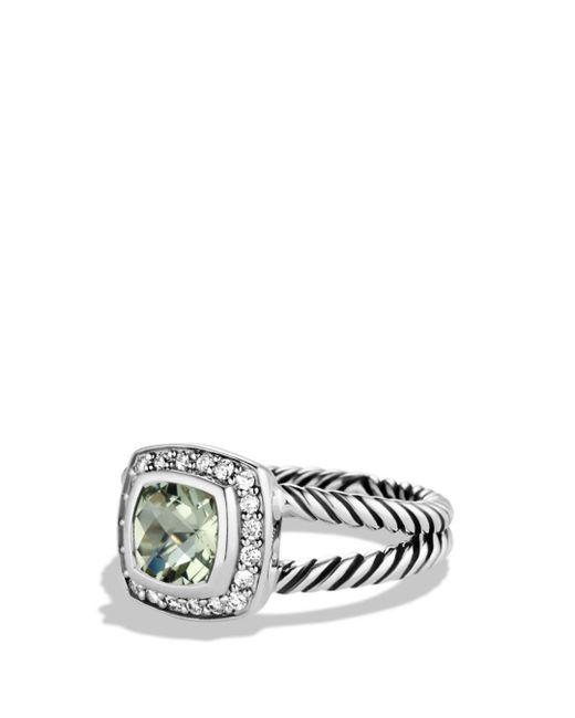 David Yurman Metallic Petite Albion Ring With Prasiolite & Diamonds