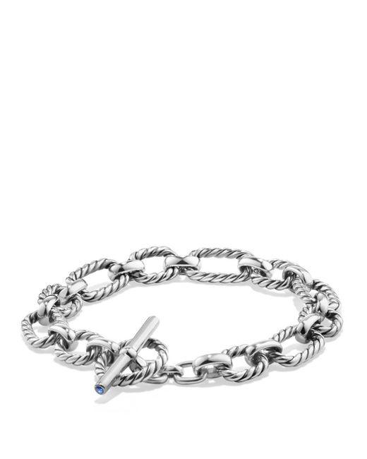 David Yurman - Metallic Chain Cushion Link Bracelet With Blue Sapphire In Sterling Silver - Lyst