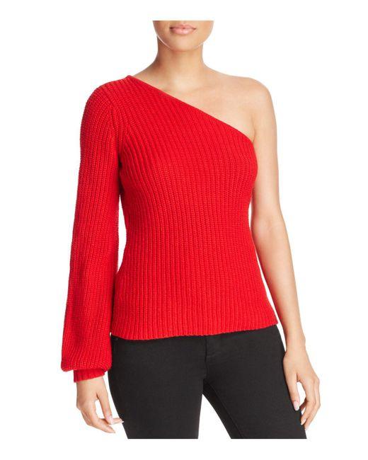 Aqua   Red One-shoulder Sweater   Lyst