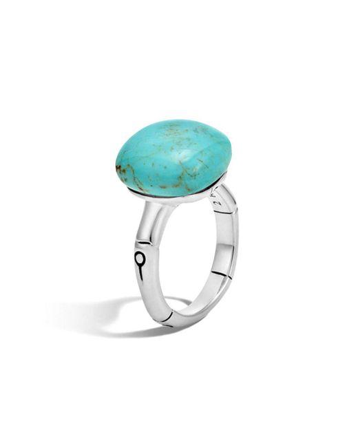 John Hardy - Metallic Batu Bamboo Silver Ring With Turquoise - Lyst