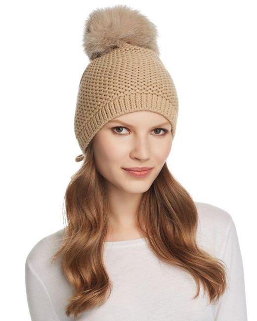 Kyi Kyi Brown Slouchy Hat With Fox Fur Pom - Pom