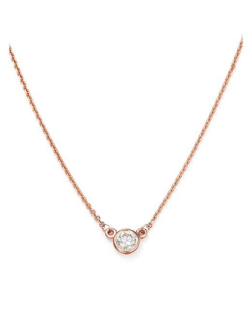 Bloomingdale's Metallic Diamond Bezel Set Pendant Necklace In 14k Rose Gold