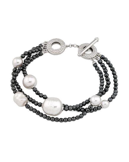 Majorica - Multicolor Simulated Pearl Multi-strand Toggle Bracelet - Lyst