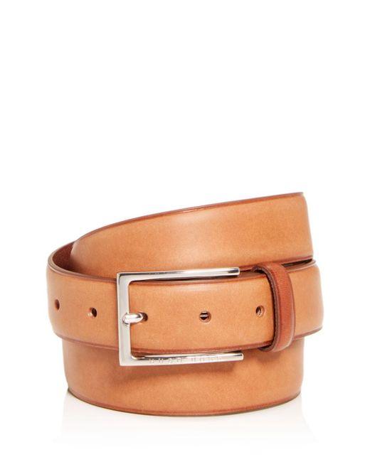 BOSS Brown Men's Ceddys Slim Plain Leather Belt for men
