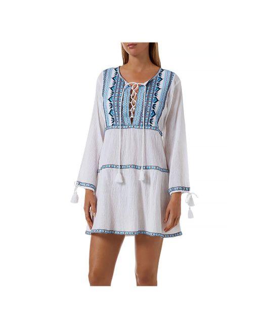 Melissa Odabash Blue Millie Embroidered Cover - Up Dress