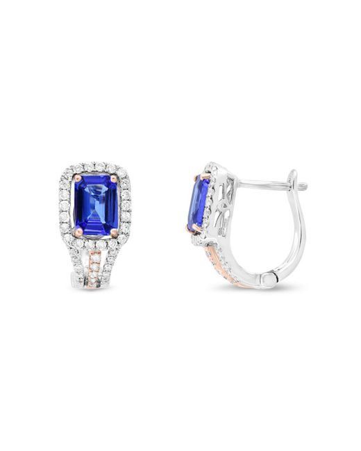 Bloomingdale's - Multicolor Tanzanite And Diamond Earrings In 14k Rose And White Gold - Lyst
