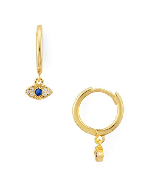 Aqua Metallic Evil Eye Drop Hoop Earrings In Gold - Plated Sterling Silver Or Sterling Silver