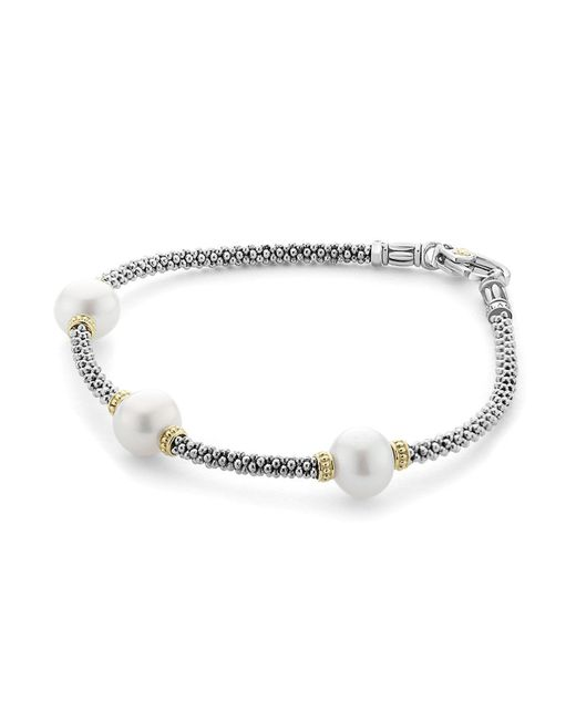 Lagos - Metallic 18k Gold And Sterling Silver Luna Rope Bracelet With Cultured Freshwater Pearls - Lyst