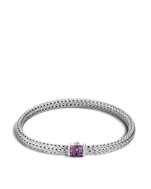 John Hardy - Purple Classic Chain Sterling Silver Lava Extra Small Bracelet With Amethyst - Lyst