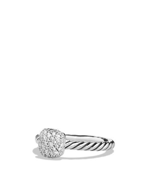 David Yurman | Metallic Petite Pavé Cushion Ring With Diamonds | Lyst