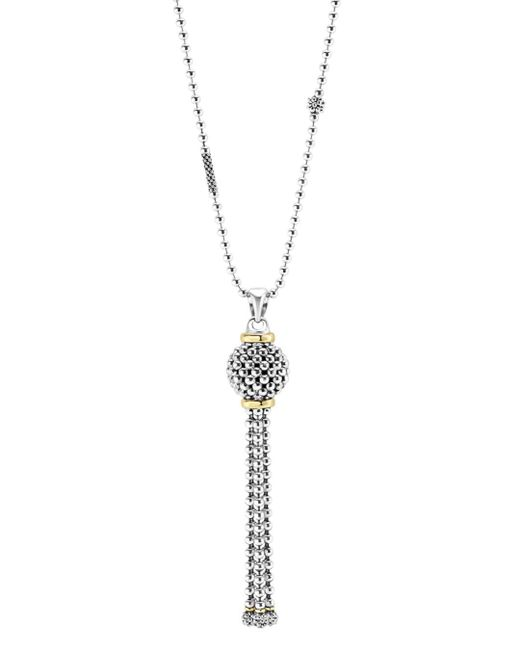 Lagos Metallic Caviar Tassel Sterling Silver Pendant Necklace With 18k Gold