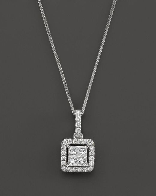 Bloomingdale's - Diamond Princess Cut Halo Pendant Necklace In 14k White Gold, .40 Ct. T.w. - Lyst