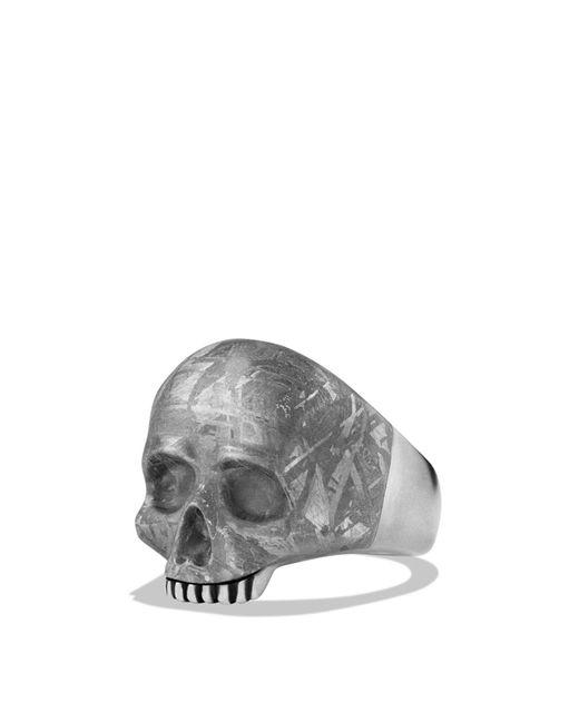 David Yurman - Metallic Skull Ring With Carved Meteorite for Men - Lyst