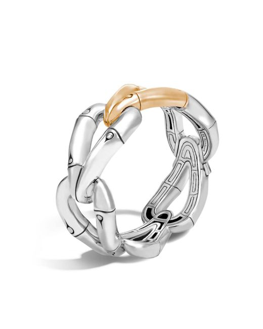 John Hardy | Metallic 18k Gold And Sterling Silver Bamboo Hinged Bangle | Lyst