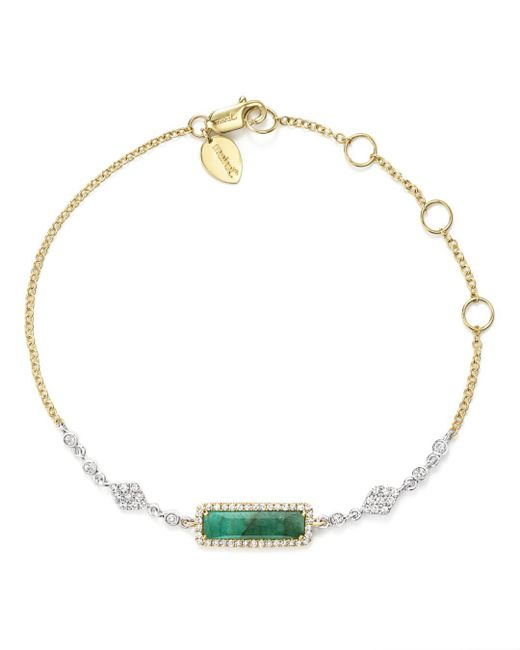 Meira T - 14k Yellow And White Gold Emerald Bracelet With Diamonds - Lyst
