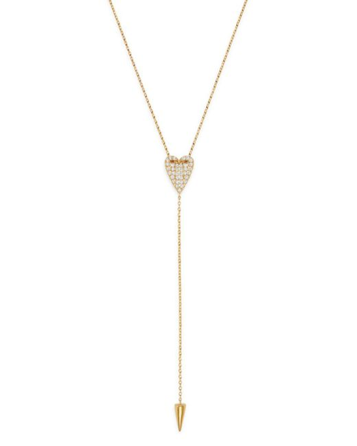 Bloomingdale's White Pavé Diamond Folded Heart Y - Necklace In 14k Yellow Gold