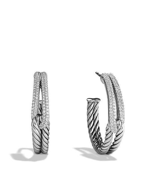 David Yurman   Metallic Labyrinth Hoop Earrings With Diamonds   Lyst