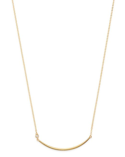 Moon & Meadow Metallic Diamond Curved Wire Necklace In 14k Yellow Gold