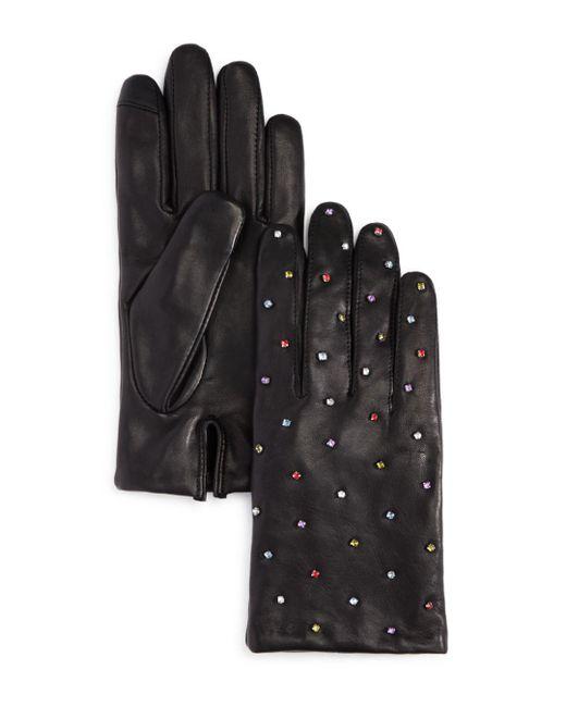 Echo - Black Rani Embellished Leather Gloves - Lyst