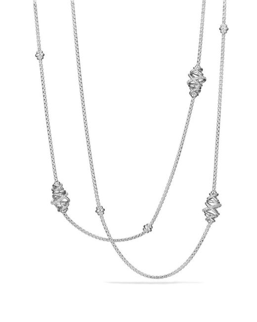 David Yurman - Metallic Crossover Station Necklace With Diamonds - Lyst