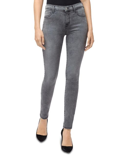 J Brand Gray Maria High - Rise Skinny Jeans In Infidelity