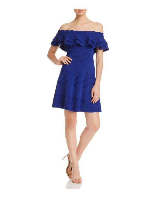 Eliza J - Blue Off-the-shoulder Ruffle Dress - Lyst