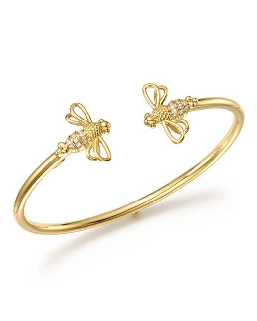 Temple St. Clair Metallic Diamond & 18k Gold Bee Bellina Bangle