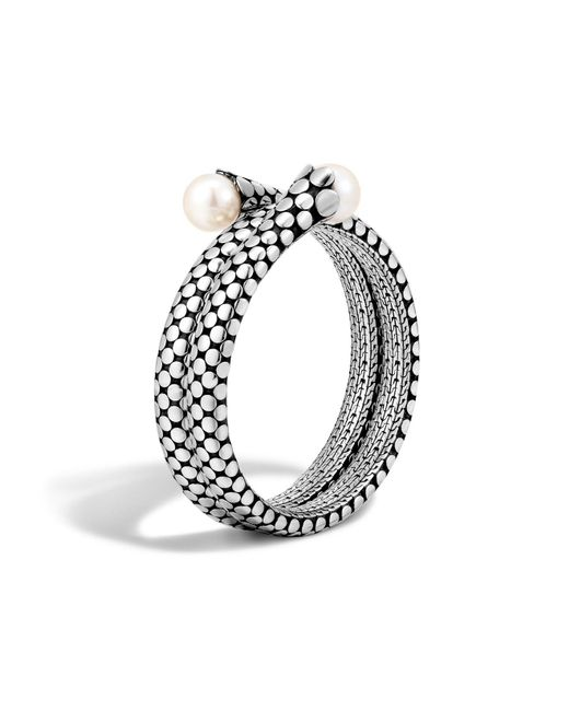 John Hardy | Metallic Dot Sterling Silver Double Coil Bracelet With Cultured Freshwater Pearls | Lyst