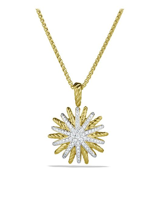 David Yurman - Yellow Starburst Small Pendant With Diamonds In Gold On Chain - Lyst