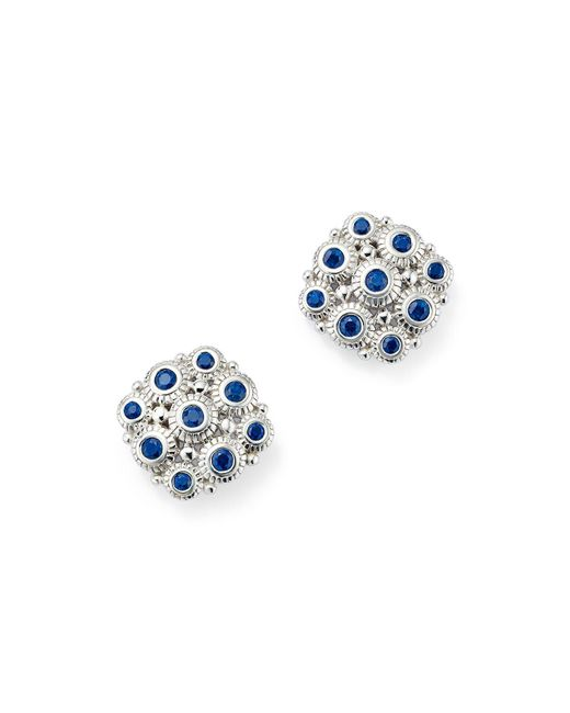 Judith Ripka | Blue Sterling Silver Snowflake Stud Earrings With Sapphire | Lyst