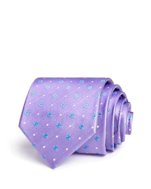 Bloomingdale's - Purple Floret Dot Neat Classic Tie for Men - Lyst