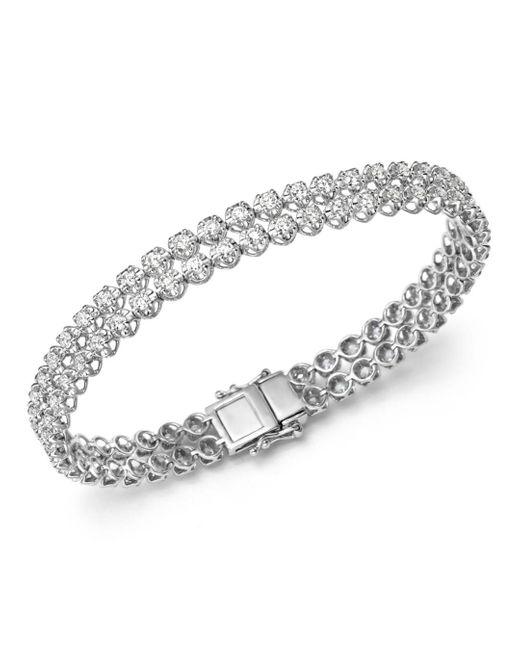 Bloomingdale's - Diamond Two Row Tennis Bracelet In 14k White Gold, 4.0 Ct. T.w - Lyst