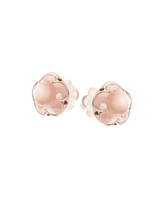 Pasquale Bruni - Pink 18k Rose Gold Rose Quartz Floral Stud Earrings - Lyst