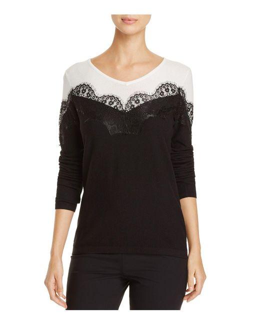 Avec - Black Lace Trimmed Color Block Top - Lyst