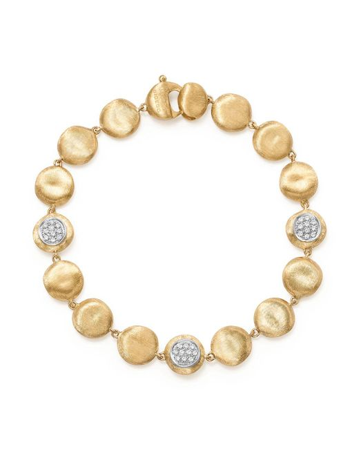 Marco Bicego | Metallic 18k Yellow Gold Diamond Pavé Jaipur Link Small Beaded Bracelet | Lyst