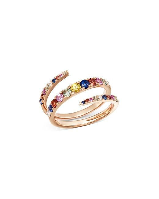 Bloomingdale's - Metallic Multicolor Sapphire & Diamond Spiral Ring In 14k Rose Gold - Lyst