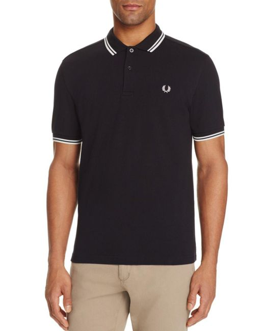 Fred Perry - Black Tipped Logo Regular Fit Polo Shirt for Men - Lyst