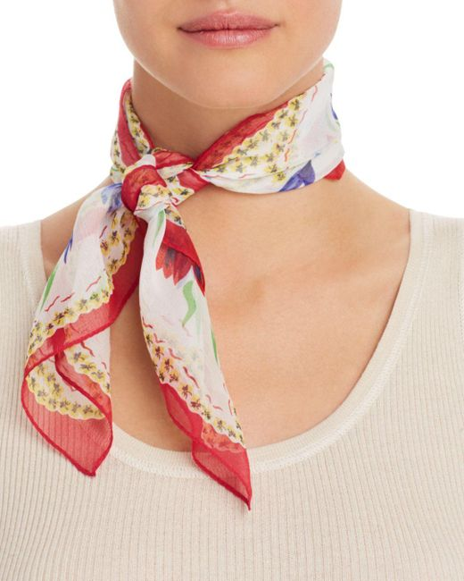 Echo Red Floral - Print Silk Scarf
