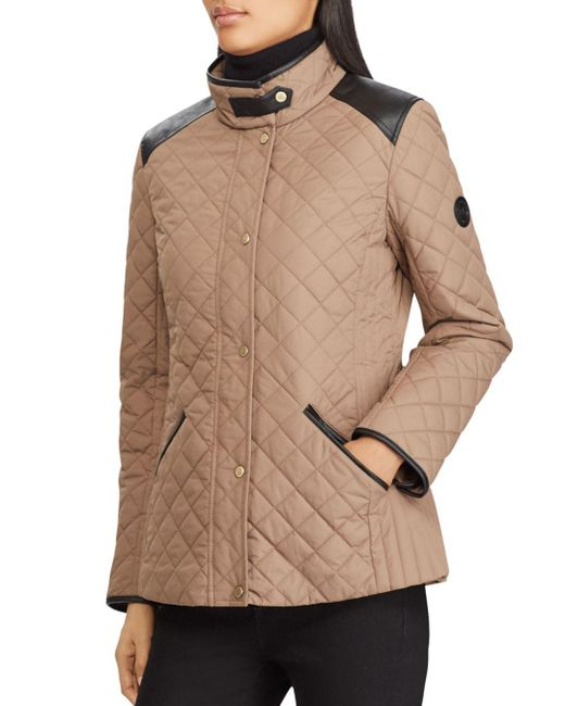 Ralph Lauren - Multicolor Lauren Faux Leather Tab Quilted Jacket - Lyst