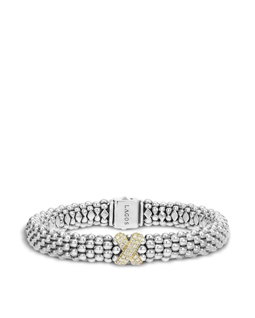 Lagos | Metallic Sterling Silver 18k Gold Diamond X Rope Bracelet | Lyst