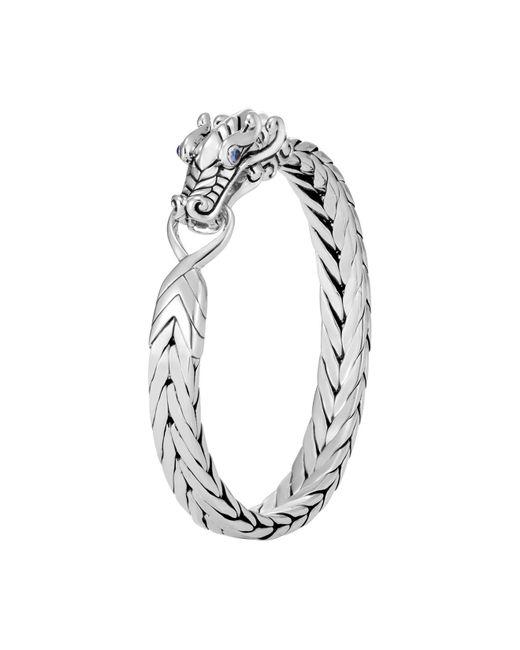John Hardy - Metallic Sterling Silver Legends Naga Bracelet With Blue Sapphire Eyes - Lyst