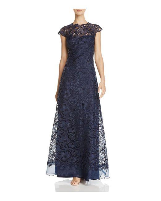 Tadashi Shoji | Blue Illusion-neck Lace Gown | Lyst