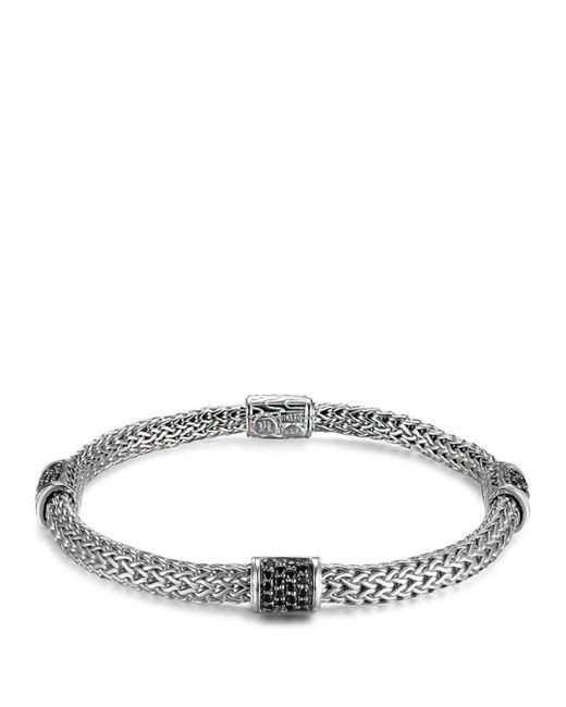 John Hardy - Metallic Classic Chain Silver Lava Four Station Chain Bracelet With Black Sapphires - Lyst