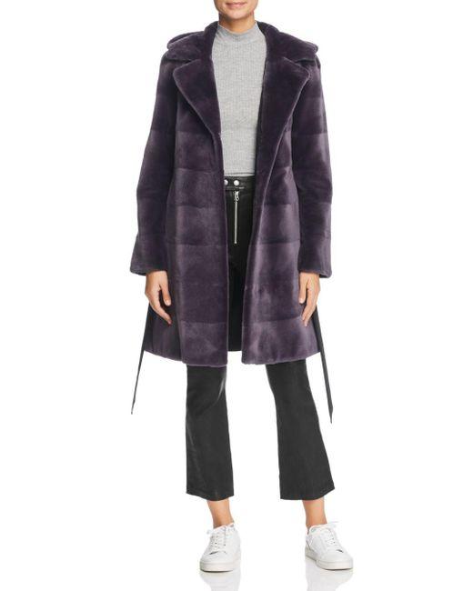 Maximilian - Blue Reversible Hooded Sheared Mink Fur Coat - Lyst