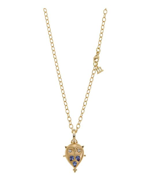 Temple St. Clair | Metallic 18k Gold Small Owl Locket With Tanzanite And Diamonds | Lyst
